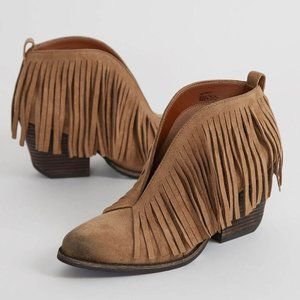 Anthropologie Coconuts Lombard Fringe Suede Boots